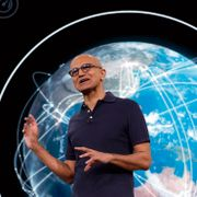 Microsoft CEO Satya Nadella delivers the keynote address at Build, the company's annual conference for software developers. Elaine Thompson / TT NYHETSBYRÅN