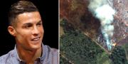 Fotbollsstjärnan Cristiano Ronaldo och en bild på en av bränderna i Amazonas från den 15 augusti 2019.  TT