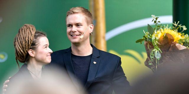 Amanda Lind och Gustav Fridolin.  Janerik Henriksson/TT / TT NYHETSBYRÅN