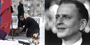 Stefan Löven (S) lägger la blommor på Olof Palmes grav förra året (vä) och Olof Palme (hö). TT