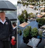 Melania och Donald Trump är nu på väg mot stormdrabbade Texas. TT