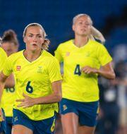 Magdalena Eriksson, Stina Blackstenius och Hanna Glas. JOHANNA LUNDBERG / BILDBYRÅN