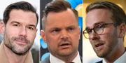 Johan Forssell (M), Adam Marttinen (SD) och Andreas Carlson (KD). TT