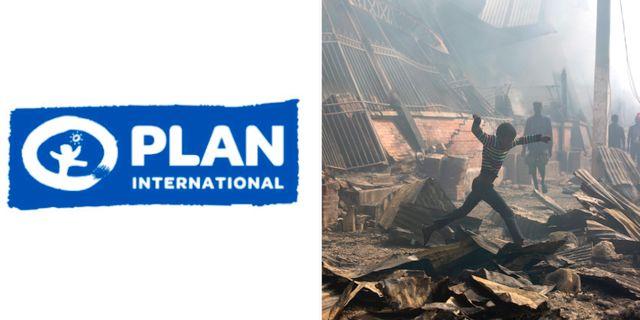 Plan Internationals logotyp/Illustrationsbild från Haiti.  TT