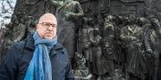 LO:s ordförande Karl-Petter Thorwaldsson fotograferad framför Brantingmonumentet på Norra Bantorget i Stockholm. Lars Pehrson/SvD/TT / TT NYHETSBYRÅN