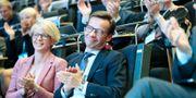 Elisabet Svantesson, ekonomiskpolitisk talesperson och nye partiledaren Ulf Kristersson under Moderaternas arbetsstämma i Örebro Kicki Nilsson/TT / TT NYHETSBYRÅN