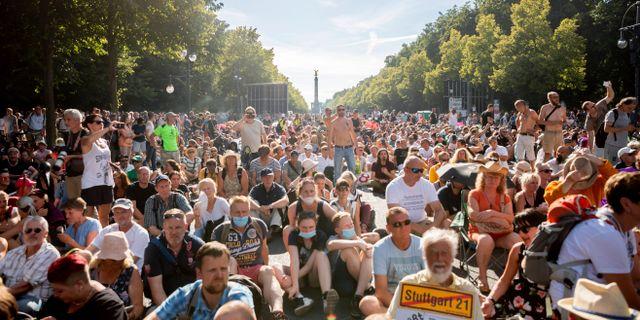 Bild från gårdagens protester. Christoph Soeder / TT NYHETSBYRÅN