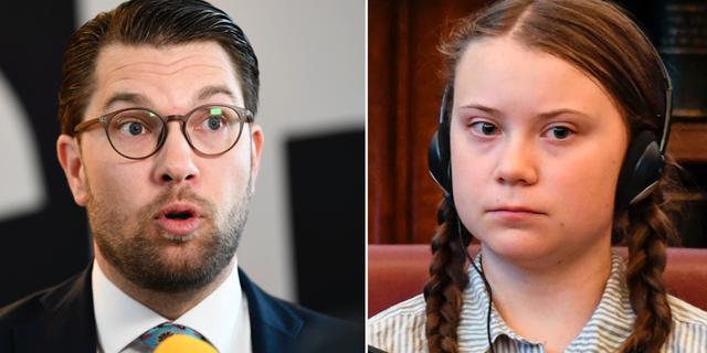 Jimmie Åkesson (SD) och klimataktivisten Greta Thunberg.  TT