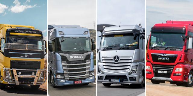 Lastbilar från de fyra bolagen.  Volvo, Scania, Daimler och MAN.