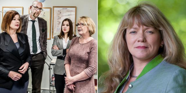 Alliansens gruppledare i Stockholmslandstinget Anna Starbrink (L), Gustav Hemming (C), Ella Bohlin (KD) och Irene Svenonius (M) hösten 2017, samt Susanne Nordling (MP). TT.