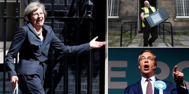 Theresa May, valarbetare, Nigel Farage. TT