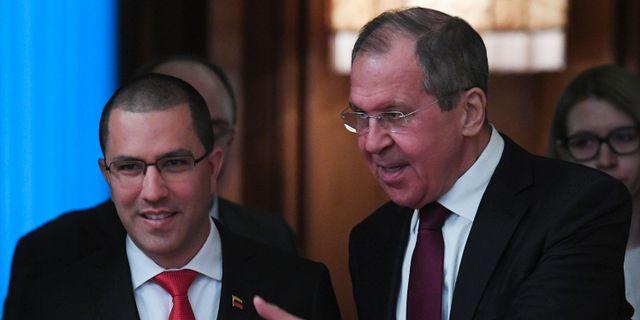 Rysslands utrikesminister Sergej Lavrov och Venezuelas utrikesministern Jorge Arreaza under ett möte i Moskva. KIRILL KUDRYAVTSEV / AFP