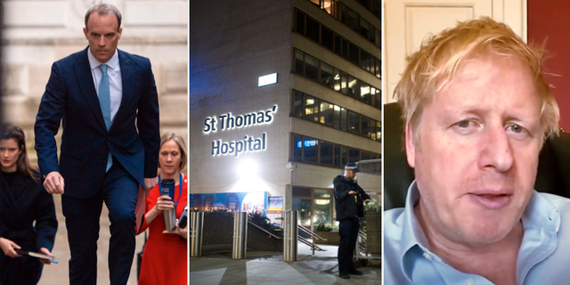 Dominic Raab, St Thomas' Hospital och Boris Johnson. TT
