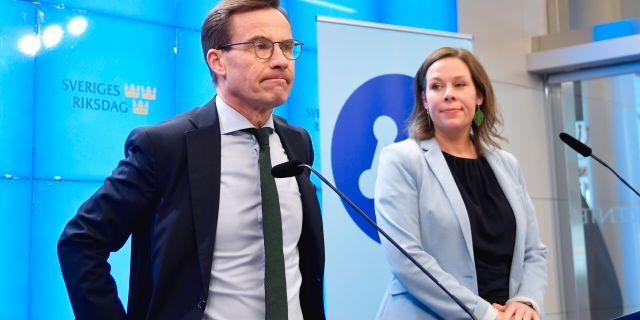 Moderaternas partiledare Ulf Kristersson och partiets migrationspolitiska talesperson Maria Malmer Stenergard Anders Wiklund/TT / TT NYHETSBYRÅN