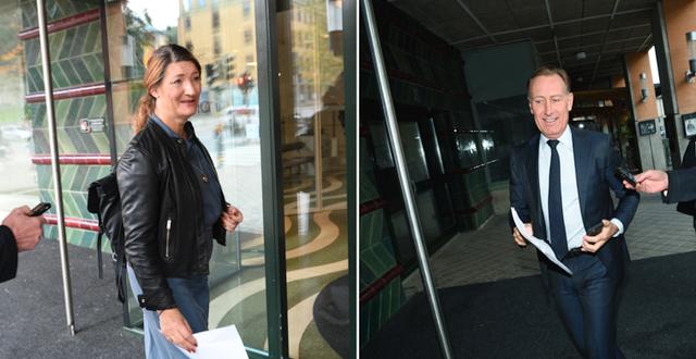 LO-ordföranden Susanna Gideonsson och Jan-Olof Jacke, vd för Svenskt Näringsliv, anländer till förhandlingarna på SKR. TT