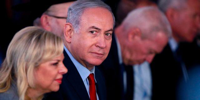 Benjamin Netanyahu och hustrun Sara Netanyahu. AMIR COHEN / TT NYHETSBYRÅN