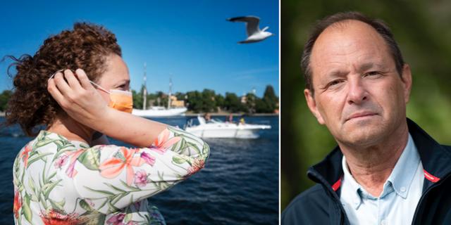 En kvinna i Stockholm bär munskydd/Björn Olsen. TT