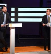 SD-ledaren Jimmie Åkesson och Ulf Kristersson (M).  Fredrik Sandberg/TT / TT NYHETSBYRÅN