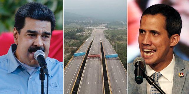 Maduro / vägblockeringar för att stoppa stödet / Guaidó.  TT