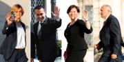 Några av Italiens nya ministrar: Giulia Bongiorno, minister för offentlig administration, Luigi Di Maio, arbetsmarknadsminister, Elisabetta Trenta, försvarsminister, och Paolo Savona, EU-minister. TT