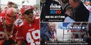 Super Bowl-fans och bilder från Trumps och Bloombergs kampanjfilmer. TT