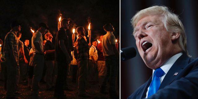 Bild från demonstrationerna och Donald Trump. TT