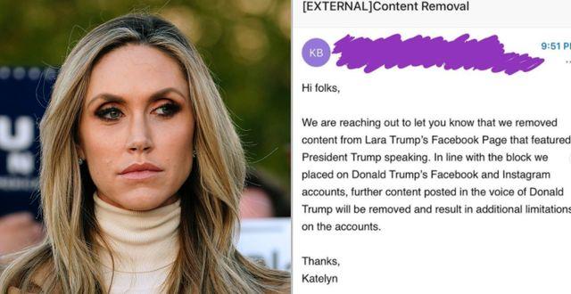 Lara Trump/Bild delad av Lara Trump med meddelande från Facebook.  TT/Lara Trumps Twitterkonto