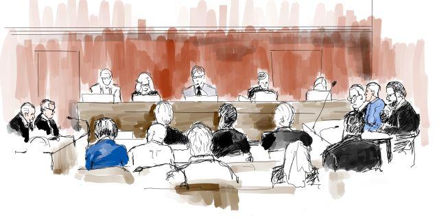 Illustration från rättegången. Ingela Landström/TT / TT NYHETSBYRÅN