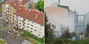 Bild efter explosionen i Linköping i början av juni/Sprängdådet mot strippklubb i Örebro TT