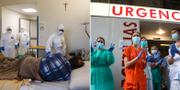 Sjukhus i Rom, Italien/Spansk sjukvårdspersonal applåderar TT