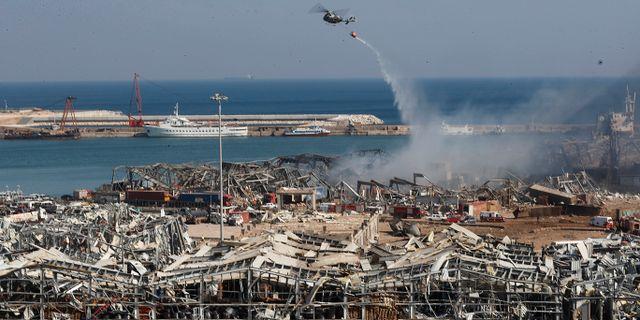 Explosionerna orsakade stor förödelse.  Hussein Malla / TT NYHETSBYRÅN