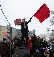 Protester i Moskva. Pavel Golovkin / TT NYHETSBYRÅN