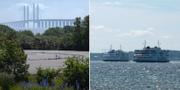 Öresundsbron och färjor på vattnet mellan Danmark och Sverige. TT