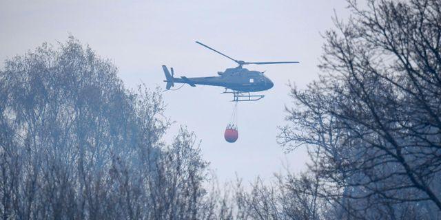 En helikopter vattenbombar branden i Hästveda på onsdagen. Kan bli aktuellt även i Strömstad. Johan Nilsson/TT / TT NYHETSBYRÅN