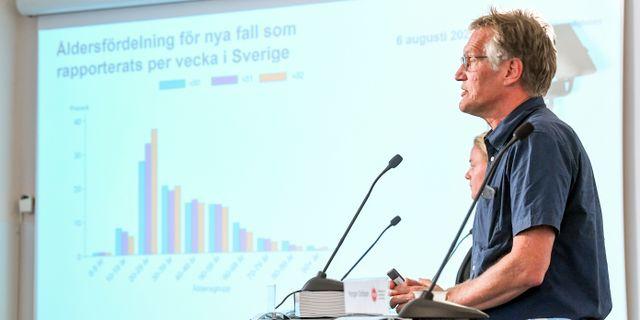 Anders Tegnell på dagens pressträff.  Fredrik Sandberg/TT / TT NYHETSBYRÅN