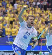Finlands Nico Salo gör 5-2. Jessica Gow/TT / TT NYHETSBYRÅN