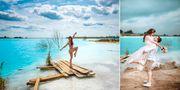 Den turkosa sjön kallas Novosibirsks Maldiverna. AP/TT NYHETSBYRÅN
