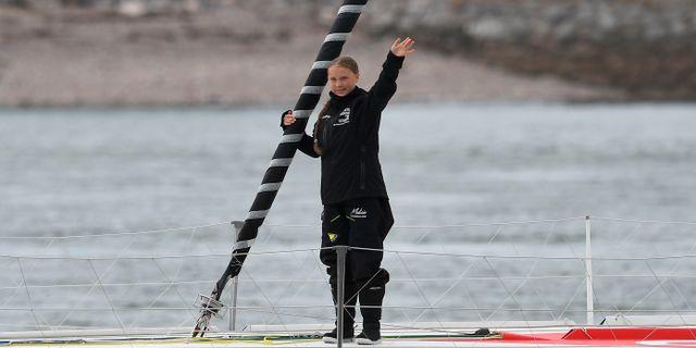 Greta ombord på Malizia II. BEN STANSALL / AFP