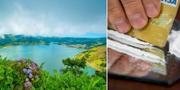 Bild från ön São Miguel och illustrationsbild på kokain. Wikipedia/TT