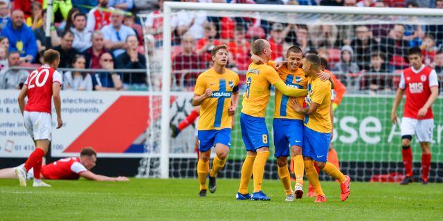Norrköping spelade för dagen i blågula tröjor. SAM BARNES / BILDBYRÅN