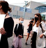 Greta Thunberg vid en klimatdemonstration i Tyskland.  Kay Nietfeld / TT NYHETSBYRÅN