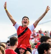 Englands Harry Kane/Dansk supporter.  Bildbyrån.