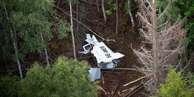 Flygplansvraket efter olyckan. Erik Abel/TT / TT NYHETSBYRÅN