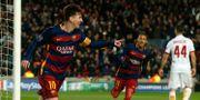 Messi firar 2–0-målet. ALBERT GEA / TT NYHETSBYRÅN