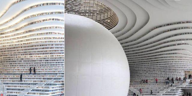Resemagasinet Allt om resor beskriver det nya biblioteket i Tianjin i Kina som en gigantisk militärfarkost från ett riktigt påkostat filmäventyr i futuristisk rymdmiljö. MVRDV