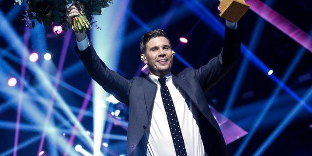 Robin Bengtsson när han vann Melodifestivalen. Christine Olsson/TT / TT NYHETSBYRÅN