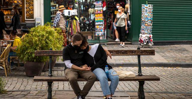 Personer i Bryssel. Francisco Seco / TT NYHETSBYRÅN