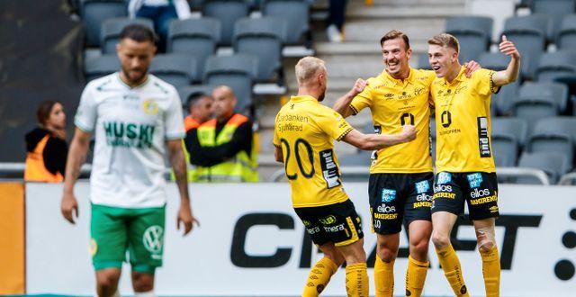 Elfsborg jublar efter 2–0-målet. ANDREAS L ERIKSSON / BILDBYRÅN