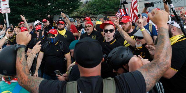 Bild från demonstrationerna.  JOHN RUDOFF / AFP