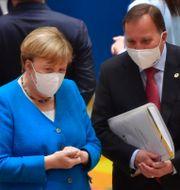Angela Merkel och Stefan Löfven. John Thys / TT NYHETSBYRÅN